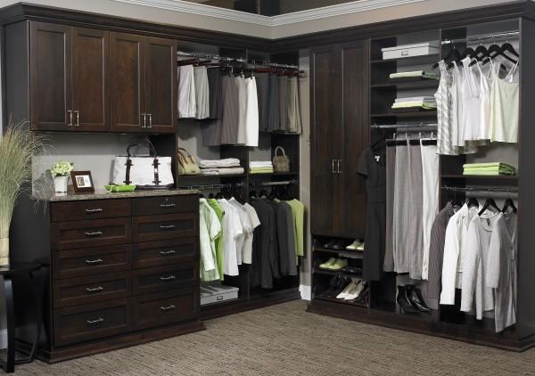 dark wood closet cabinets