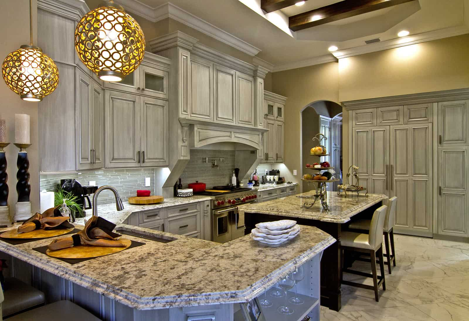 kitchen with high end white cabinets