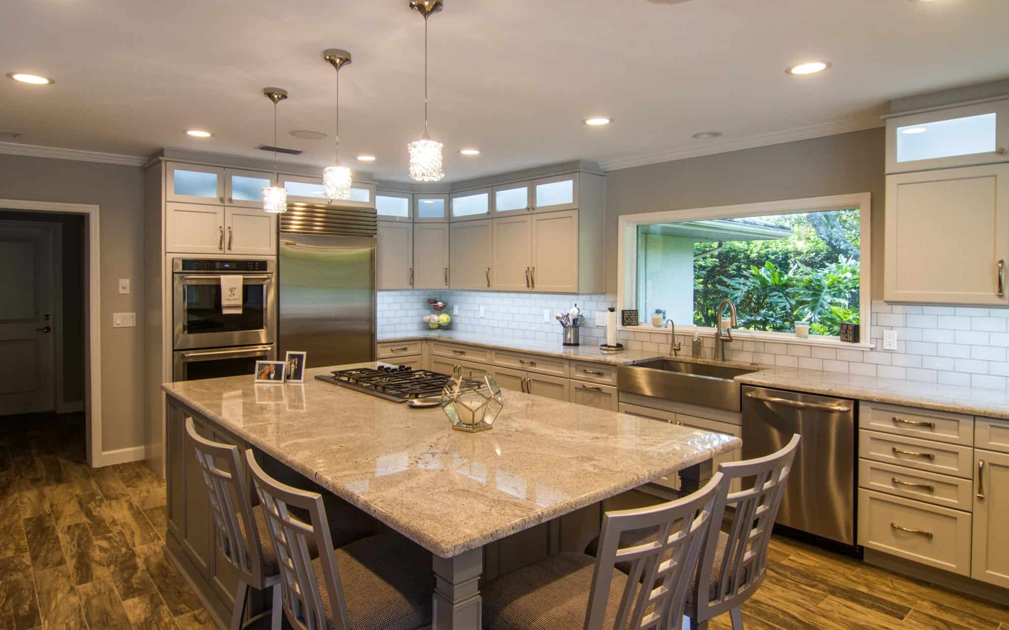 gray kitchen cabinets with large island