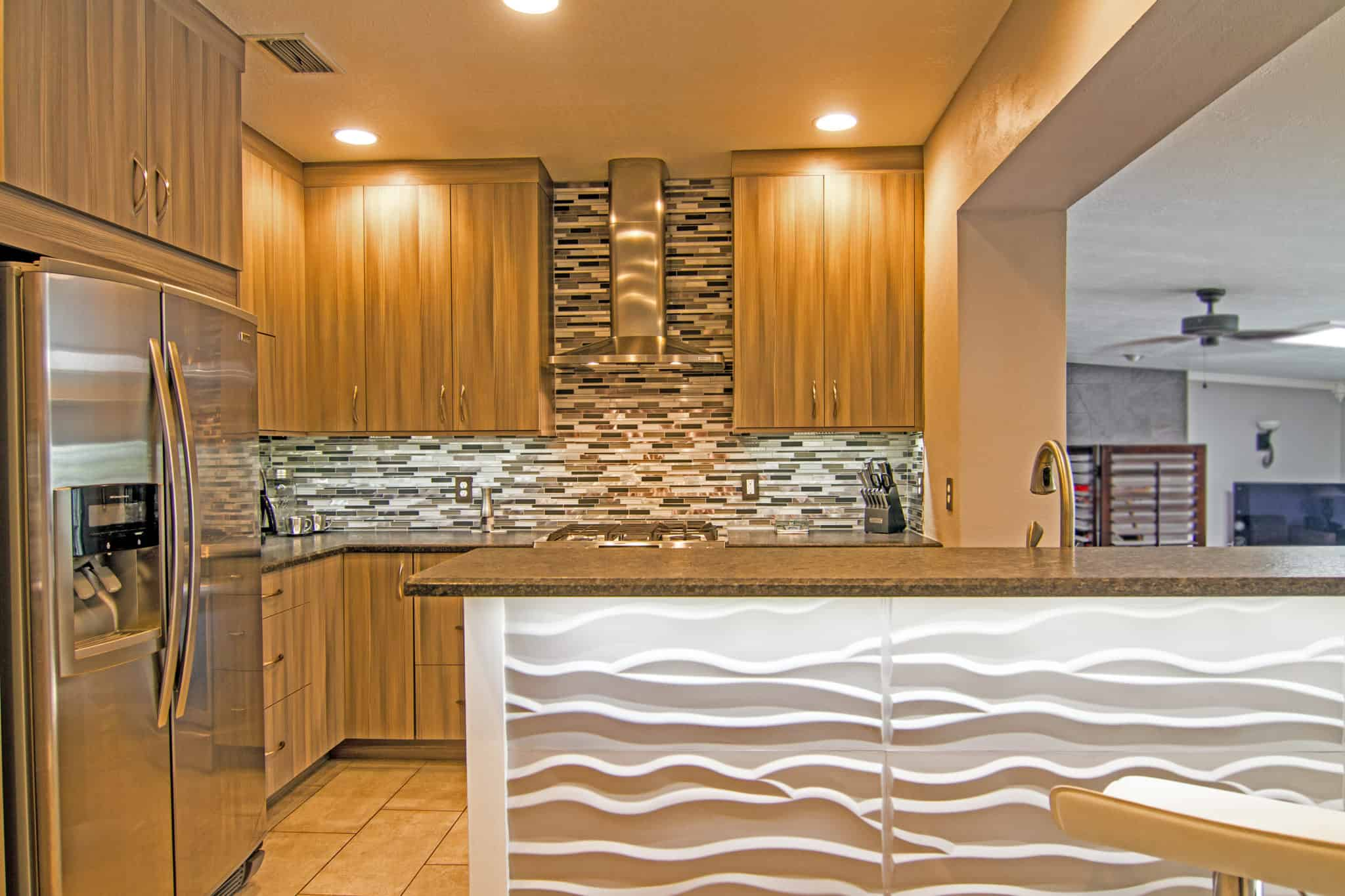 Kitchen island with wave pattern
