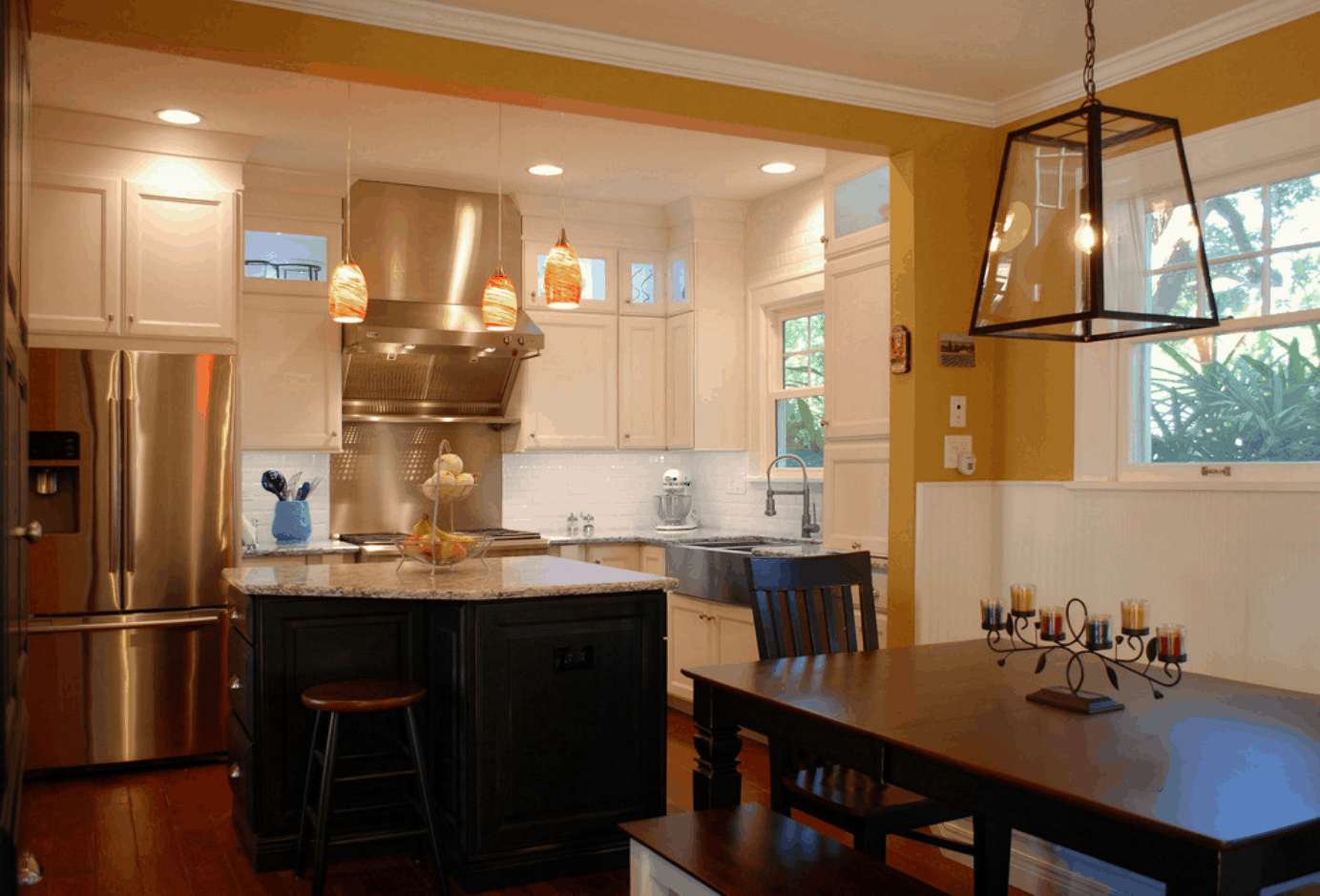 cozy kitchen with yallow walls