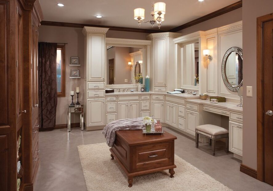 bathroom with high end white cabinets