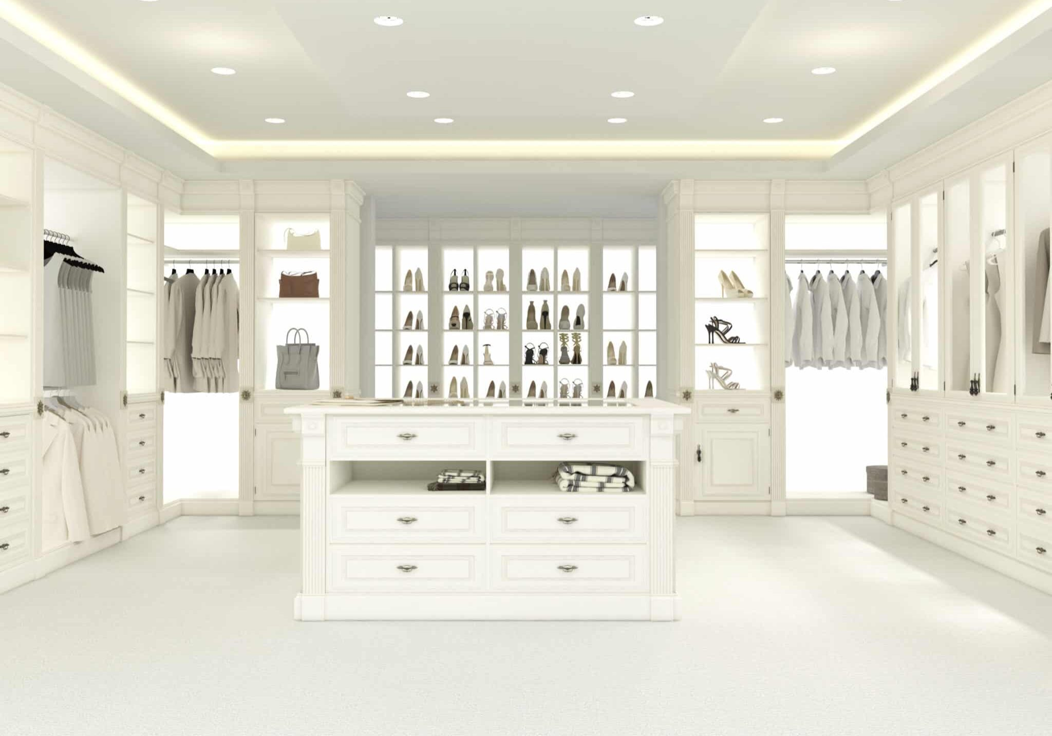 large white walk-in closet