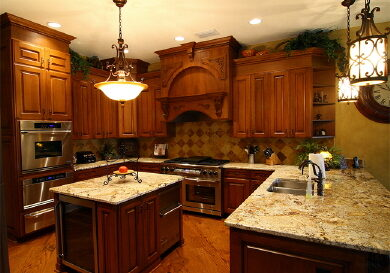 warm wood kitchen cabinets