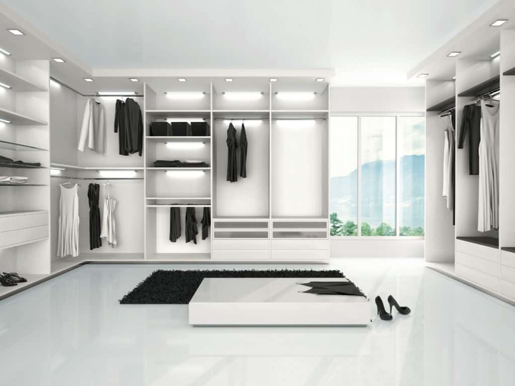 bright white modern walk-in closet