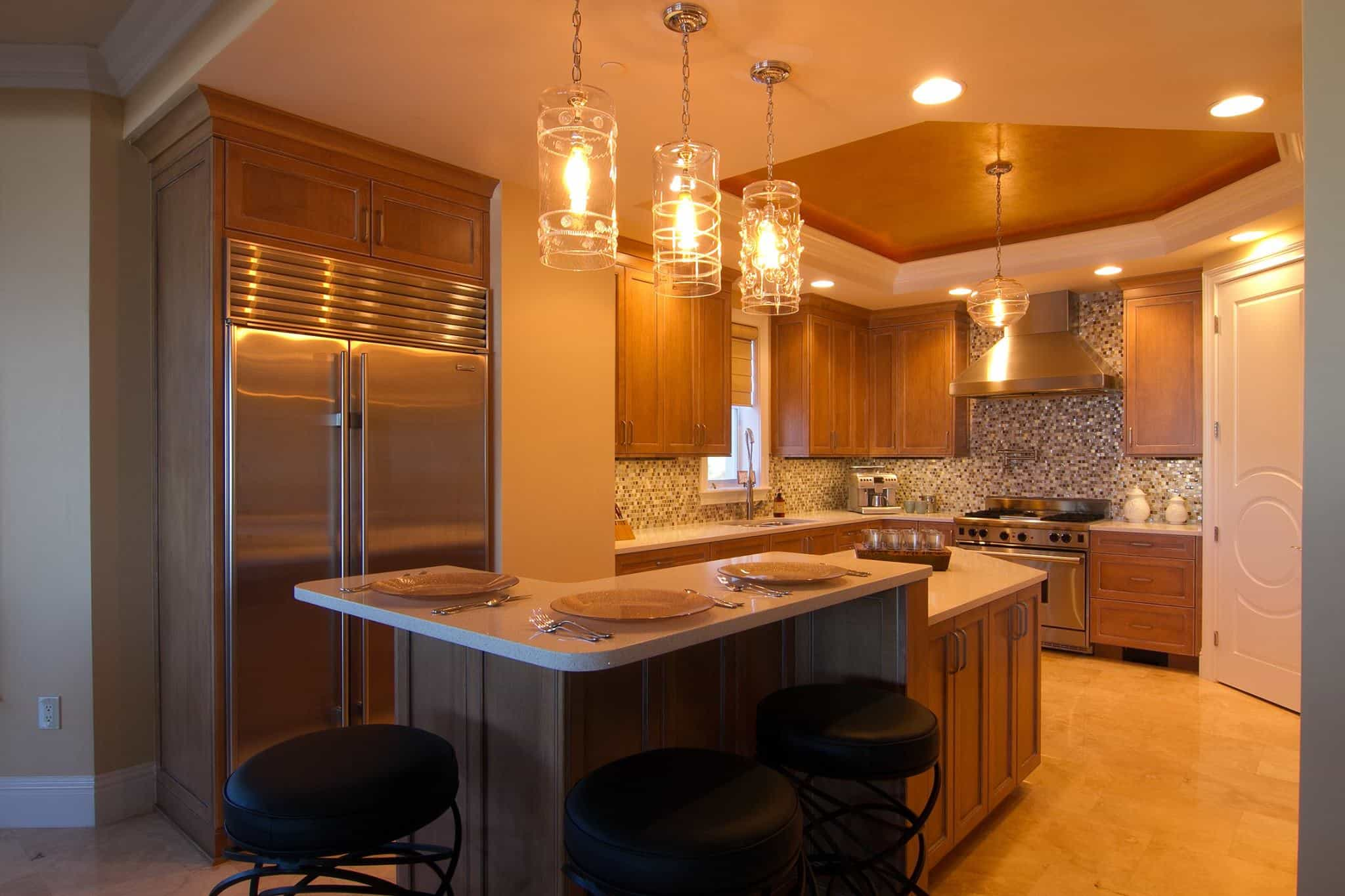 wooden kitchen cabinets with L-shaped island
