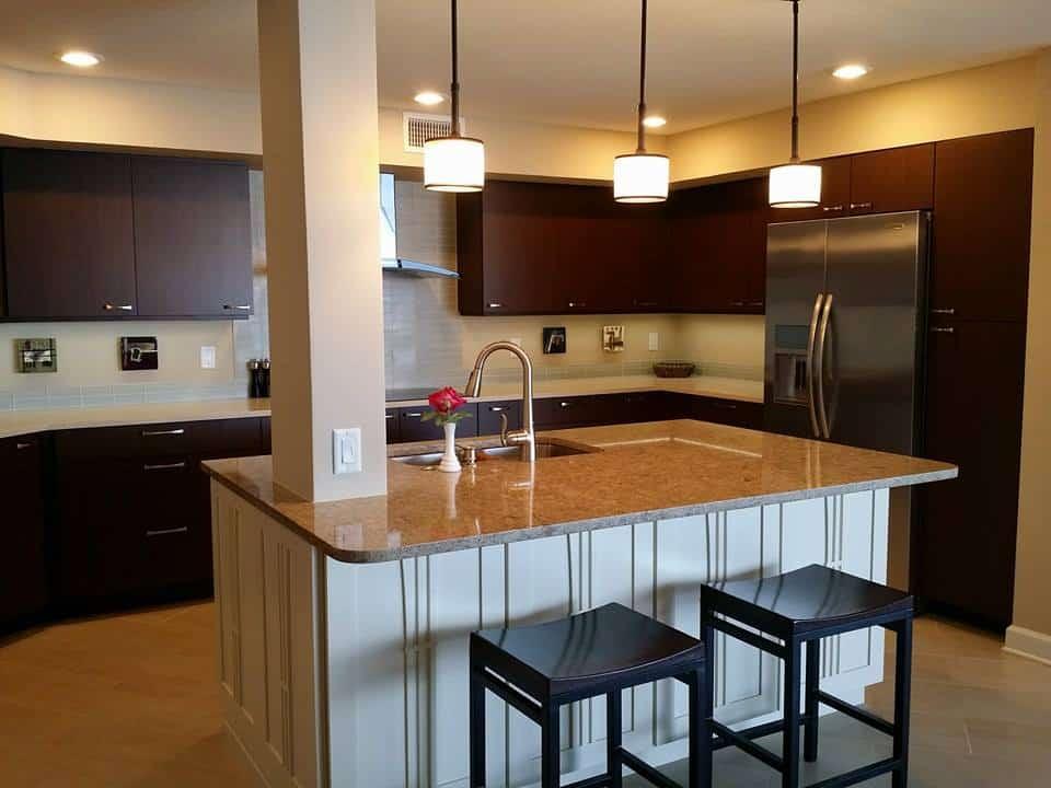 dark wood kitchen cabinets with white kitchen island