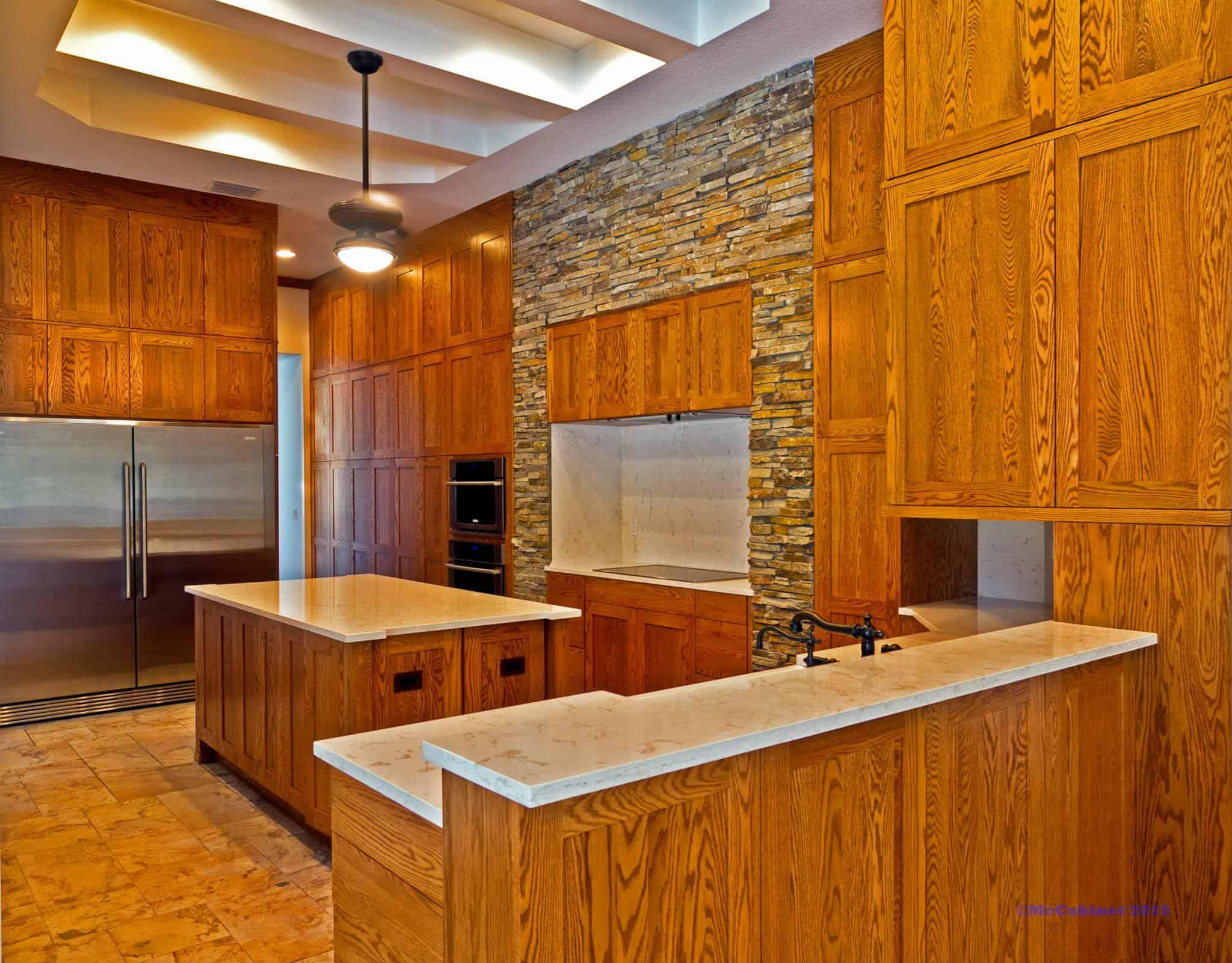 wood and brick kitchen