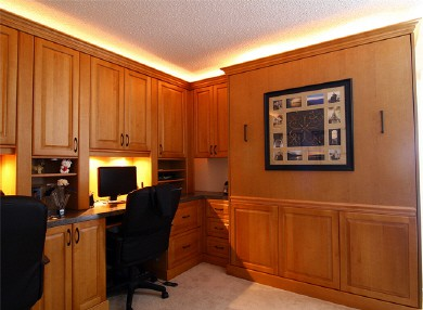 office space with closed murphy bed hidden
